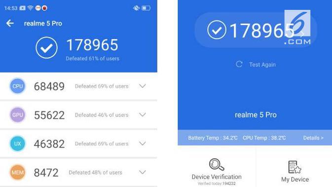 Hasil benchmark Realme 5 Pro. Liputan6.com/Iskandar