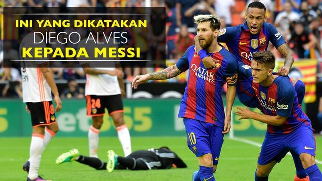 Video momen kiper Valencia, Diego Alves, mengingatkan sesuatu kepada bintang Barcelona, Lionel Messi, sebelum penalti.