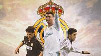 Real Madrid - Fernando Morientes, Cristiano Ronaldo, Raul Gonzales (Bola.com/Adreanus Titus)
