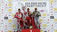 Pembalap Astra Honda Racing Team (AHRT) mendominasi podium Asia Road Racing Championship (ARRC) 2019 kelas AP250 seri keempat di Suzuka, Jepang, 29-30 Juni 2019. (Dok AHRT)
