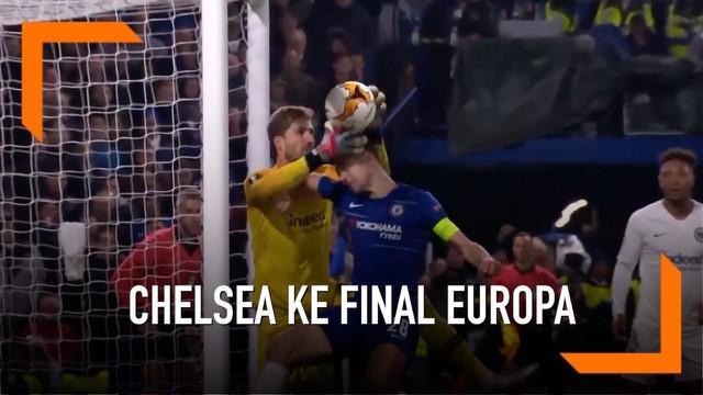 Chelsea memenangi pertandingan melalui adu penalti dengan skor 4-3 saat melawan Eintracht Frankfurt pada laga leg kedua semifinal Liga Europa 2018-2019 di Stamford Bridge, Kamis (9/5/2019).