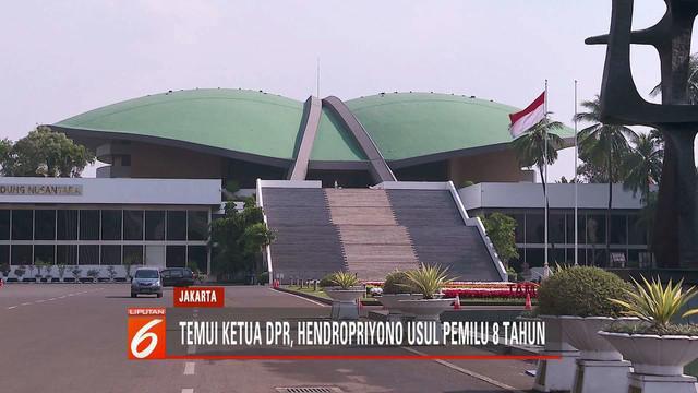 Temui Ketua DPR Bambang Soesatyo, Hendropriyono usul pemilihan umum dilaksanakan setiap 8 tahun sekali.