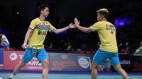 Ganda putra Indonesia Kevin Sanjaya Sukamuljo / Marcus Fernaldi Gideon lolos ke semifinal Denmark Open 2019. (Humas PP PBSI)