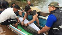 Proses evakuasi pesut di Pelalawan oleh BBKSDA Riau bersama instansi lainnya. (Liputan6.com/Dok BBKSDA Riau)