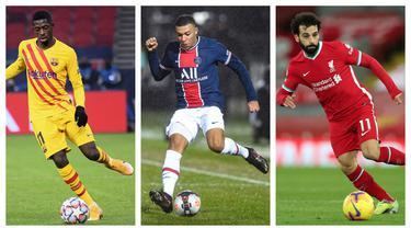 Kumpulan foto-foto sejumlah pemain yang memiliki statistik larinya paling ngebut di pentas Liga Champions. (Foto: AFP)