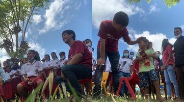 6 Potret Rian d'Masiv Salurkan Bantuan ke Anak-anak Korban Bencana NTT, Tuai Pujian