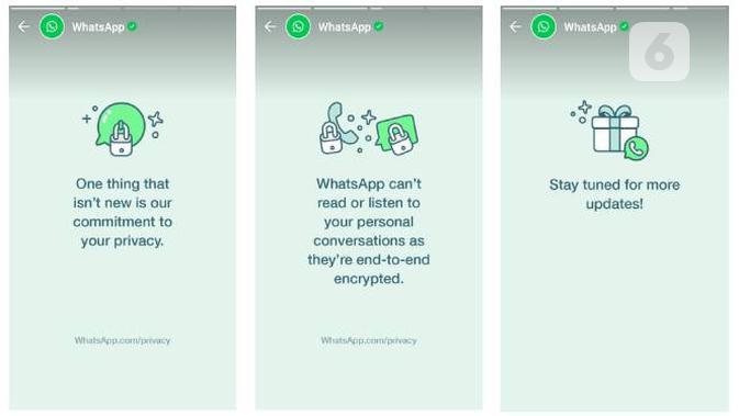 Kebijakan privasi baru WhatsApp. Liputan6.com/Iskandar
