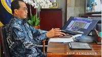 Menteri Perhubungan Budi Karya Sumadi dalam dialog publik secara virtual dengan tema Pelabuhan Patimban dan Geliat Ekonomi Nasional pada Jumat (20/11).