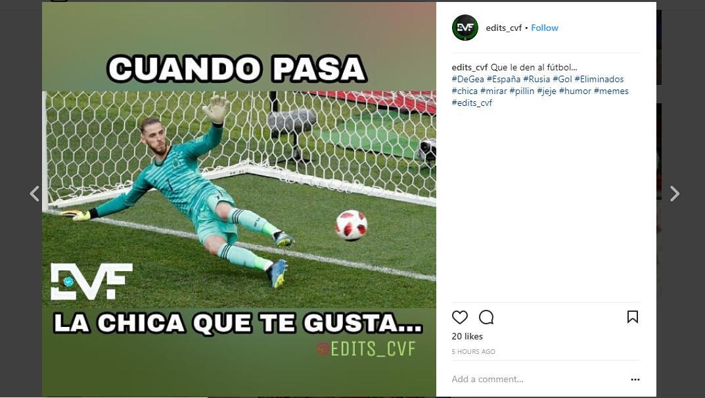 Warganet lainnya mengedit foto De Gea yang telah gagal menyelamatkan gawang Spanyol meskipun dia sudah berusaha (Foto: Instagram/ @edits_cvf)