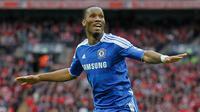 Didier Drogba - Drogba menjadi pahlawan Chelsea di final liga Champions 2012. Golnya ke gawang Bayern Munchen di menit ke-89 memaksakan pertandingan berlanjut hingga adu penalti dan membawa Chelsea juara Champions 2012. (AFP/Ian Kington)