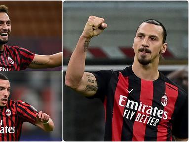 AC Milan melewatkan 24 pertandingan di seluruh kompetisi dengan catatan tanpa terkalahkan sejak 8 Maret 2020 lalu. Kebangkitan AC Milan tidak lepas dari pemain hebat yang tampil apik di laga mereka. Berikut 5 pemain yang menjadi aktor kebangkitan AC Milan. (kolase foto AFP)