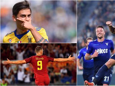 Berikut ini deretan top scorer Serie A  2017/2018 hingga pekan kedelapan. Yang dipimpin striker Napoli, Ciro Immobile, berkat dua golnya ke gawang Juventus. (Kolase foto-foto dari AFP dan AP)
