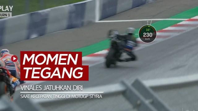 Berita video momen pembalap Maverick Vinales menjatuhkan diri dari motor dalam kecepatan tinggi saat balapan MotoGP Styria, Minggu (23/8/2020).