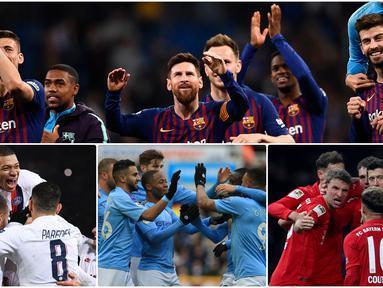 Barcelona FC menjadi klub dengan penghasilan tertinggi pada musim 2019 dan menggeser Real Madrid ke posisi kedua versi The Deloitte's Football Money League. Pendapatan Barcelona FC mencapai USD 959,3 juta dan Real Madrid USD 864 juta. (Kolase foto AFP)
