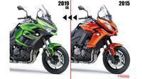 Perbedaan desain Kawasaki Versys terbaru dengan versi lawas. (Young machine)