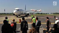 Aktivitas penerbangan di Bandara Adisutjipto, Yogyakarta, Minggu (6/5). Angkasa Pura I yang mengelola 13 bandara di Indonesia mencatat kenaikan jumlah penumpang. (Merdeka.com/Arie Basuki)