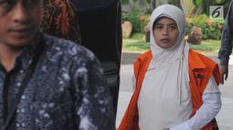 Anggota DPRD Dian Lestari akan menjalani pemeriksaan lanjutan di gedung KPK, Jakarta, Jumat (16/03). Dian diperiksa sebagai tersangka terkait kasus suap anggaran proyek di Disdipora Kebumen dalam APBD tahun anggaran 2016. (Merdeka.com/Dwi Narwoko)