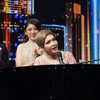 Maia Estianty, Dul Jaelani dan Tiara Anugerah Konser Kemenangan Indonesian Idol, Senin (9/3/2020). (Bambang E Ros/Fimela.com)