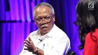 Menteri Pekerjaan Umum dan Perumahan Rakyat (PUPR) Basuki Hadimuljono saat menjadi pembicara dalam acara Rumah Untuk Rakyat di SCTV Tower, Jakarta, Kamis (28/9/2017). (LIputan6.com/Fatkhur Rozaq)