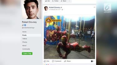 Robert Downey, Jr unggah foto Iron Man jadi wahana komedi putar.