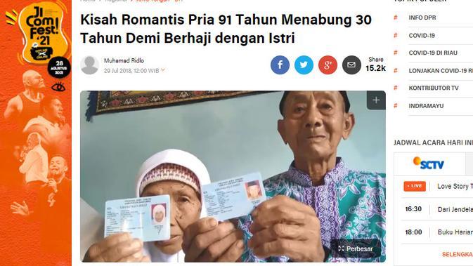 Cek Fakta Liputan6.com menelusuri  klaim foto pria 91 tahun dan istri gagal haji