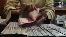 Teller tengah menghitung mata uang rupiah di penukaran uang di Jakarta, Junat (23/11). Nilai tukar dolar AS terpantau terus melemah terhadap rupiah hingga ke level Rp 14.504. (Liputan6.com/Angga Yuniar)
