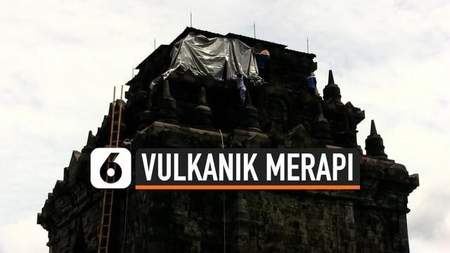Balai konservasi Candi Borobudur, Mendut, dan Ratu Boko di Magelang, Jawa Tengah, menutup bagian atas bangunan candi Mendut dengan cover khusus pada Kamis siang, demi mencegah kerusakan dan pelapukan batuan candi dari serangan abu vulkanik Gunung Mer...