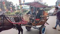 Sopir angkot di Garut memutuskan untuk mogok masal. Kusir delman akhirnya kecipratan rezeki berlimpah. (Liputan6.com/Jayadi Supriadin)