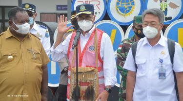 Menteri Perhubungan (Menhub) Budi Karya Sumadi di Kabupaten Asmat, Papua.