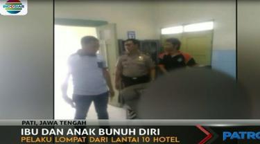 Wanita berusia 30 tahun dan bayi dalam gendongannya tewas seketika setelah melompat dari lantai 10 hotel milik Wakil Bupati Pati tersebut.