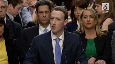 Mark Zuckerberg, CEO Facebook  memberikan kesaksian di kongres.