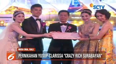 Pernikahan crazy rich surabayan Jusup-Clarissa kumpulkan dana Rp 1,26 miliar untuk korban bencana di Lombok, Palu, Donggala, dan Sigi.