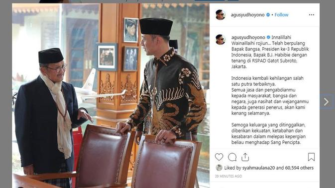 Ucapan duka BJ Habibie meninggal dunia dari putra sulung SBY, Agus Yudhoyono melalui media sosial miliknya. (Instagram @agusyudhoyono)
