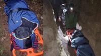 Ranger Gunung Rorekatimbu dari Balai Taman Nasional Lore Lindu (TNLL) mengevakuasi dua mahasiswa lantaran mengalami hoptermia saat mendaki gunung di Kabupaten Poso tersebut. (Liputan6.com/ Heri Susanto)