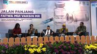 Menkes Nila menyampaikan perlu sosialisasi untuk daerah yang cakupan imunisasi MR rendah. (Liputan6.com/Fitri Haryanti Harsono)