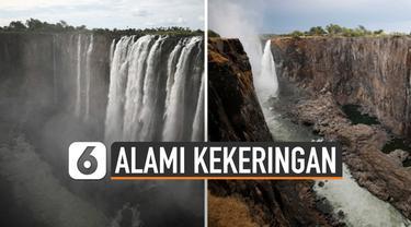 Air terjun Victoria yang masuk dalam Situs Warisan Dunia UNESCO mengering. Air yang ada dalam air terjun di Zimbabwe ini tak sebanyak biasanya.