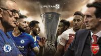 Banner Infografis Final Liga Europa 2018/2019, Chelsea Vs Arsenal. (Foto: AFP)