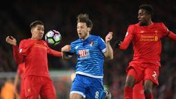 Gelandang Bournemouth, Harry Arter, berebut bola dengan gelandang Liverpool, Roberto Firmino. The Reds mencatatkan penguasaan bola sebesar 67 persen berbanding 33 persen milik Bournemouth. (AFP/ Paul Ellis).