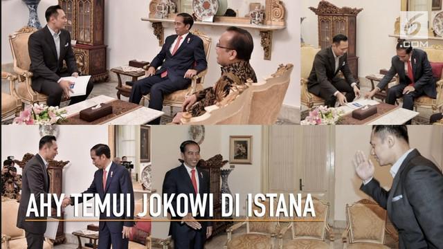 Agus Yudhoyono atau AHY menemui Presiden Jokowi di Istana Negara untuk menyerahkan undangan rapimnas partai Demokrat.