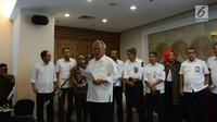 Menteri PUPR, Basuki Hadimuljono menggelar konferensi pers di Jakarta, Selasa (4/12). Basuki mengatakan lokasi yang menjadi peristiwa penembakan terhadap 31 pekerja PT Istaka Karya merupakan lokasi yang tergolong tidak rawan. (Merdeka.com/Imam Buhori)