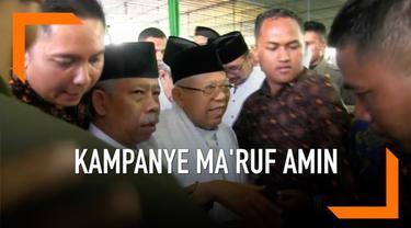 Cawapres Jokowi Ma'ruf Amin berkampanye di Yogyakarta. Mantan Ketua MUI ini akan menghadiri deklarasi 5.000 santri dan ulama yang mendukung dirinya menjadi Cawapres Jokowi.