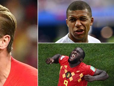 Memasuki babak semifinal, hanya tersisa empat pemain yang berpelung besar bisa merebut gelar top scorer Piala Dunia 2018. Berikut empat bintang calon kuat pencetak gol terbanyak Piala Dunia 2018. (Kolase foto-foto dari AFP)