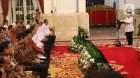 Ketua Dewan Pengarah BPIP Megawati Soekarnoputri saat Presidential Lecture Internalisasi dan Pembumian Pancasila di Istana Negara, Jakarta, Selasa (3/12/2019). Megawati berharap Presiden Joko Widodo bisa segera mengisi pos yang ditinggal Ma'ruf Amin dan Mahfud Md di BPIP. (Liputan6.com/Angga Yuniar)