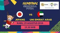 Semifinal Sepak Bola Asian Games 2018, Jepang vs Uni Emirat Arab. (Bola.com/Dody Iryawan)