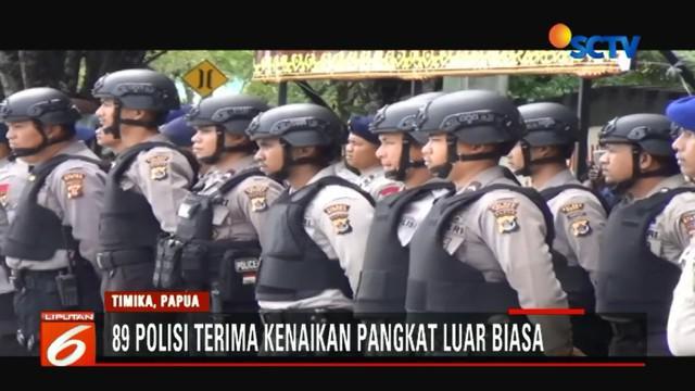 89 anggota Polda Papua yang menerima kenaikan pangkat tergabung dalam satgas terpadu penanggulangan kelompok kriminal bersenjata (KKB).