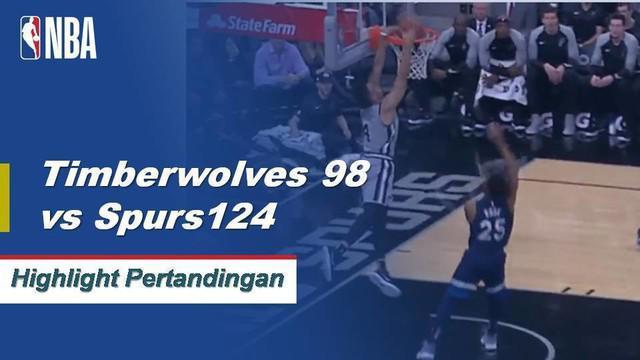 Bryn Forbes memimpin semua pencetak angka dengan 22 poin untuk membantu mendorong Spurs melewati Timberwolves 124-98