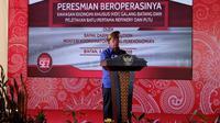 Menteri Koordinator Bidang Perekonomian Darmin Nasution meresmikan beroperasinya KEK Galang Batang di Bintan, Kepulauan Riau, Sabtu, 8 Desember 2018.