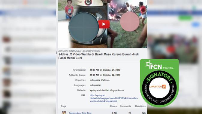 [Cek Fakta] Wanita Dibakar Massa karena Bunuh Anak Pakai Mesin Cuci? Ini Faktanya (Facebook)