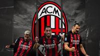 Zlatan Ibrahimovic, Hakan Calhanoglu dan Theo Hernandez. (Bola.com/Dody Iryawan)
