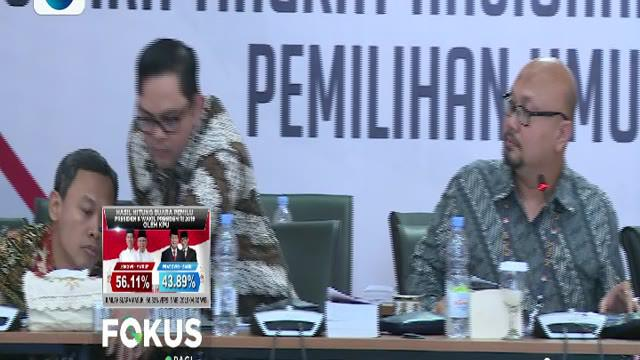 Untuk hasil perhitungan sementara, pasangan calon nomor 01 Joko Widodo-Ma'ruf Amin masih unggul.